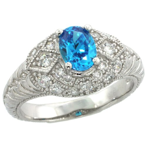 Sterling Silver Vintage Style Engagement Ring w/ 7x5mm Oval Cut Blue Topaz Color & Brilliant Cut CZ Stones, 3/8 in. (10mm) wide, size 6