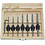 COUNTERSINK DRILL BIT 22pc SET w/CASE Adjustable Depth Stop Collars Woodworking (Color: As the picture shown, Tamaño: Medium)
