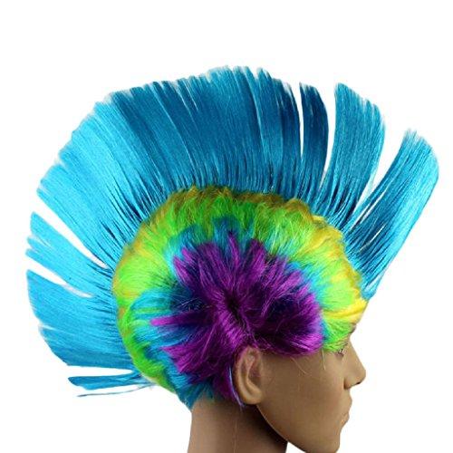 [Hallowmas Props, Bigban I pc Fashion Hallowmas Masquerade Punk Mohawk Mohican hairstyle Cockscomb Hair Wig] (Black Jasmine Wig)