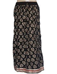 The Jaipur Bazar Women's Reyon Jaipuri Long Skirt Black With Golden Print