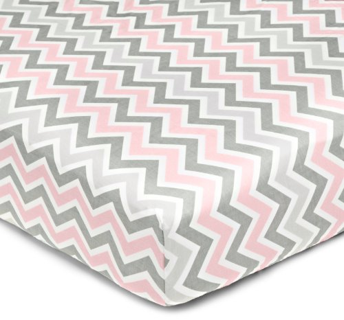 American Baby Company 100% Cotton Percale Fitted Crib Sheet, Pink Zigzag - 1