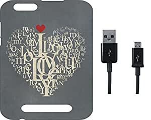BKDT Marketing Printed Soft Back Cover Combo for Lava A76 With Charging Cable