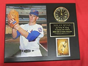 Nolan Ryan New York Mets Collectors Clock Plaque w 8x10 ROOKIE YEAR Photo and Card by J & C Baseball Clubhouse