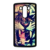 Lion and Tiger Roaring Personalized Design Cool Setro Style Fashion Custom Luxury Cover Case For LG G3(Black) with Best Plastic