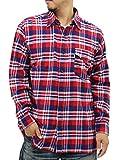 (エドウィン) EDWIN 大きいサイズ メンズ シャツ ネルシャツ 長袖 2color LL レッド
