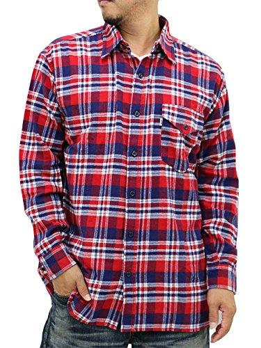 (エドウィン) EDWIN 大きいサイズ メンズ シャツ ネルシャツ 長袖 2color 3L レッド