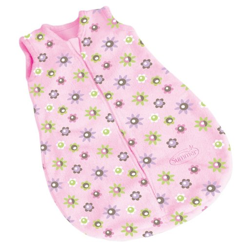 Summer Infant Slumbersack Sleeveless Microfleece - Pink Flower Print-Small/Medium - 1