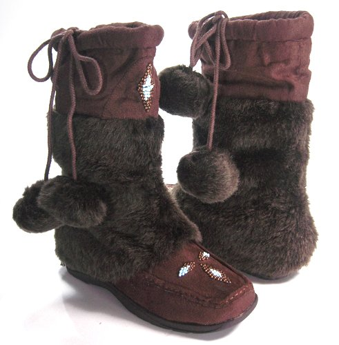 Vegan boots with brown leather and brown fuzzy middle