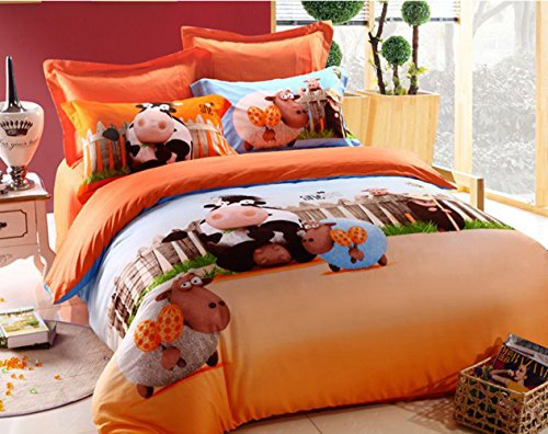 Home Feeling Children Cotton Series Cow 4-Piece Childrens Bedding Collections