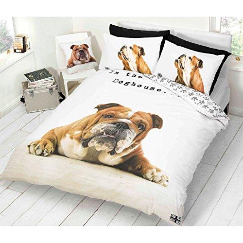 Just Contempo - Copripiumino, motivo Bull Dog addormentato, reversibile, animale grazioso, stampa, con zampa, colore: Bianco/Marrone, Policotone, Brown White, King