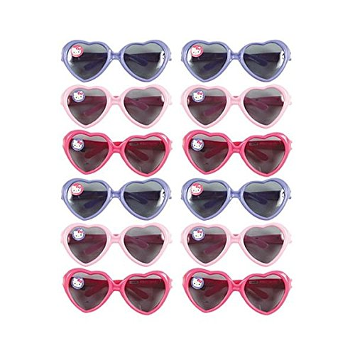 Amscan Adorable Hello Kitty Sunglasses (12 Piece), Light Pink/Dark Pink/Blue