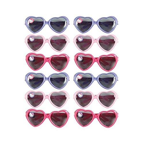 Amscan Adorable Hello Kitty Sunglasses (12 Piece), Light Pink/Dark Pink/Blue