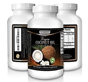 Organic Coconut Oil Supplements Made in USA - 120 Capsules 1000 MG - Great for Weight Management & Energy - Virgin Unrefined & Cold Pressed