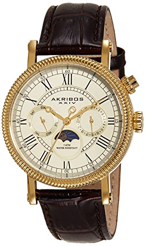 Akribos-XXIV-Mens-AK610BR-Ultimate-Multi-Function-Swiss-Quartz-Leather-Strap-Watch