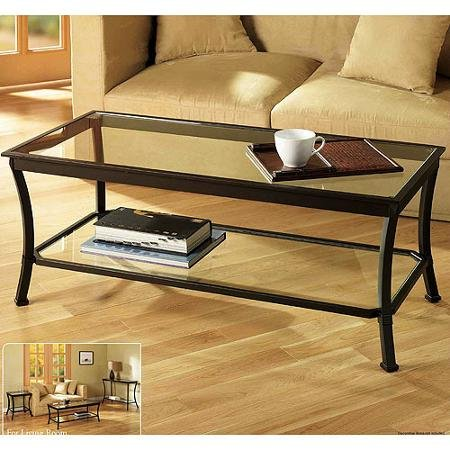 Rectangular Coffee Table with Metal Frames in Dark Bronze Finish and Clear Glass Top - Features a Glass Lower Shelf for Additional Storage