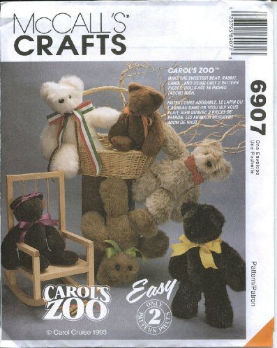 McCall's 6907 Carol's Zoo Stuffed Animals