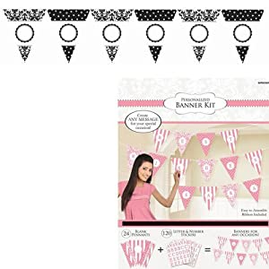 Personalized Pennant Banner - Damask Blck by AMSCAN *