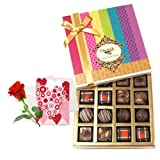 Valentine Chocholik's Belgium Chocolates - Amazing Collection Of Truffles And Chocolates With Love Card And Rose