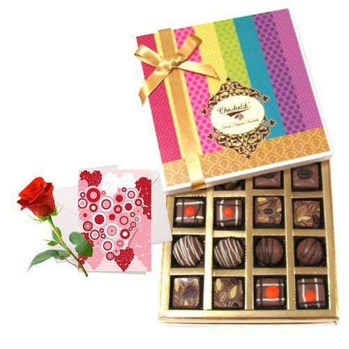 Amazing Collection Of Truffles And Chocolates With Love Card And Rose - Chocholik Belgium Chocolates