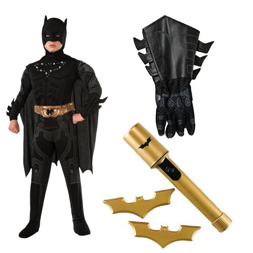 Batman Light-Up Child Costume with Gauntlets, Batarangs, Safety Light, L (12-14)