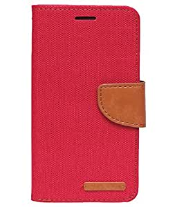 Aart Fancy Wallet Dairy Jeans Flip Case Cover for MotorolaMotoE (Red) By Aart Store
