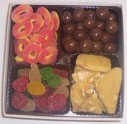 Scott\'s Cakes Large 4-Pack Chocolate Malt Balls, Peach Rings, Pectin Fruit Gels, & Peanut Brittle