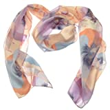Acosta Scarves - Pastel Pink & Lilac Satin Stripe - Large Flower Print Floral Scarf - Gift Idea