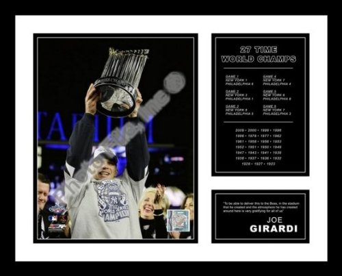 All About Autographs AAA-51277 Joe Girardi New York Yankees Framed Photograph 2009 World Series Trophy Milestone