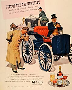 1944 Ad J. G. Kinsey Whiskey Gay Nineties Gift Horse Drawn Carriage Liquor - Original Print Ad
