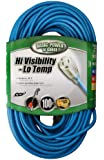 Coleman Cable 02369 16/3-Gauge High Visibility and Low Temperature Outdoor Extension Cord, 100-Feet, Blue