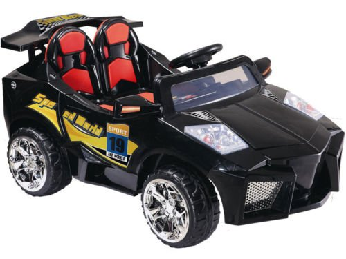 KIDS RIDE ON ELECTRIC BATTERY OPERATED SPORTS CAR - Mini Motos - 12 Volt Super Car Electric Ride-On Toy (BLACK OR YELLOW- COLOR SENT AT RANDOM)