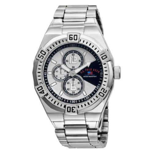 U.S. Polo Assn. Men's US8456EXL Silver and Black Dial Extra Long Silver-Tone Bracelet Watch