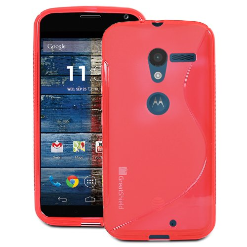 #!  GreatShield Guardian S Series Slim Fit Wave Design TPU Case for Motorola Moto X Phone (Red)