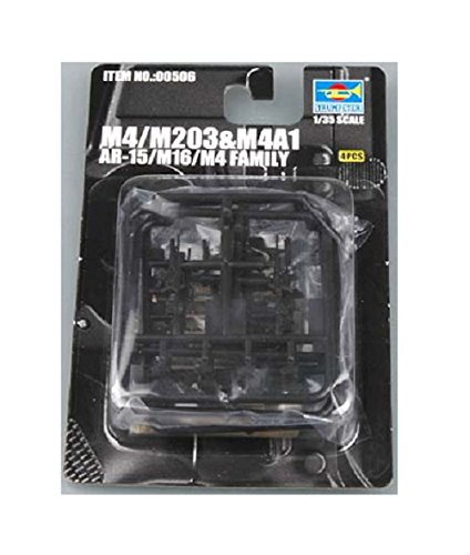 Trumpeter AR15/M16/M4 Family M4 Machine Guns, Scale 1/35, 4-Pack