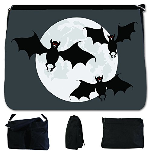 Fancy A Bag Borsa Messenger nero Scary Red Eyed Bats with Full Moon