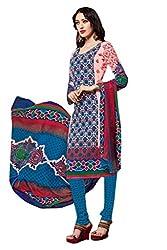 Ishin Cotton Blue Patiyal Print ,Embroidered Dress Material