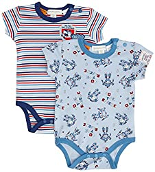 Pumpkin Patch Baby-Boys Infant Robot 2 Pack Bodysuits, Oxford Blue, 3-6 Months