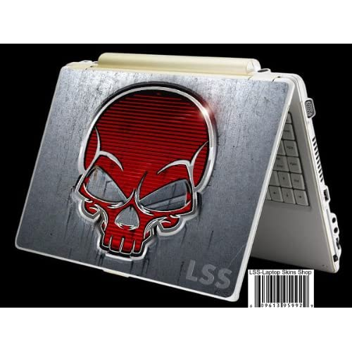 Laptop Skin Shop Laptop Notebook Skin Sticker Cover Art Decal Fits 13.3 14 15.6 16 HP Dell Lenovo Asus Compaq (Free 2 Wrist Pad Included) Red Skull