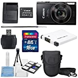 Canon PowerShot ELPH 360 HS (BLACK ) with 12x Optical Zoom and Built-In Wi-Fi with Deluxe Starter Kit Including 16 GB SDHC Class10 + Extra battery + Protective Camera Case