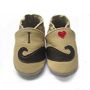 iPretty Zapatos de Cuero Suave Genuino de Bebé Niño para Primero Paso Preandador Zapatillas Lindos Beatiful para Infatil Bigote-XL (18-24 Meses) por iPretty