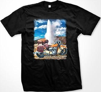 Old Faithful Motorcycle Mens Biker T-shirt, Yellowstone Geyser, Buffalo and Bike Design Men's Tee Shirt, Small, Black