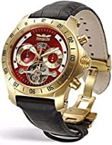 Perigaum Transatlantic Automatic Skeleton Gold Tone Watch - Red Dial - 0605GR