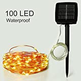 Outdoor Solar Powered String Lights,easyDecor Copper Wire 100 LED 33ft Warm White Waterproof Decorative Christmas Fairy Starry Rope Light for Indoor Party,Patio Decoration,Garden,Holiday,Tree Decor