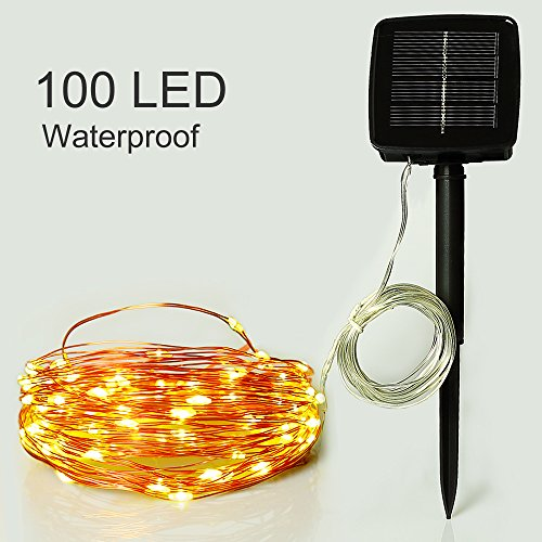 Outdoor Solar Powered String Lights Easydecor Copper Wire 100 Led 33ft Warm White Waterproof