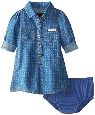 Calvin Klein Baby-Girls Infant Roll Up Sleeve Denim Dress, Blue, 24 Months