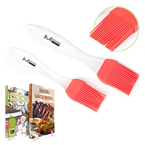 Buy Bargain mKitchen Red Silicone Basting Pastry Oil Brush Set of 2 - 2 Recipe eBooks - Good for Gri...