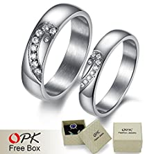 buy 2 Pcs/Lot, Steel Half Heart Couple Ring, Forever Love Diamond Ring In Engagement Wedding, 377