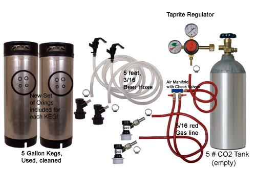 Cornelius Homebrew Kegerator Kit Dual Keg Basic Kit with 5#CO2 and Kegs
