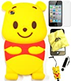 Bukit Cell ® 3D Disney Case Bundle - 5 items: YELLOW 3D Winnie The Pooh Bear Soft Silicone Case Cover for iPod Touch 4 4G 4th Generation + BUKIT CELL Trademark Lint Cleaning Cloth + Pooh Figure Anti Dust Plug Stylus Touch Pen + Screen Protector + METALLIC Stylus Touch Pen with Anti Dust Plug