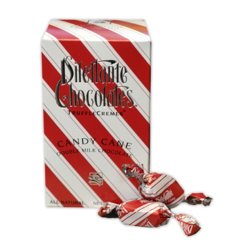 Candy Cane Truffle Crèmes in Double Milk Chocolate – 10oz Gift Box – by Dilettante (3 Pack)